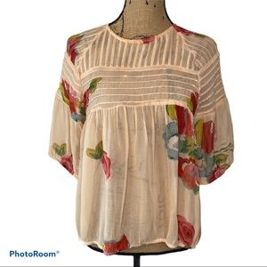 Anthropologie One Fine Day Tea Rose Blouse Size M